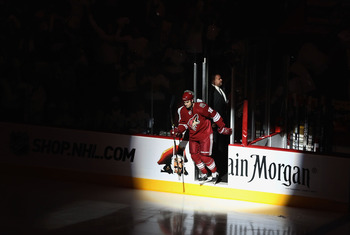 GLENDALE, AZ - APRIL 20:  Rostislav Klesla #16 of the Phoenix Coyotes skates out onto the ice before Game Four of the Western Conference Quarterfinals against the Detroit Red Wings during the 2011 NHL Stanley Cup Playoffs at Jobing.com Arena on April 20,