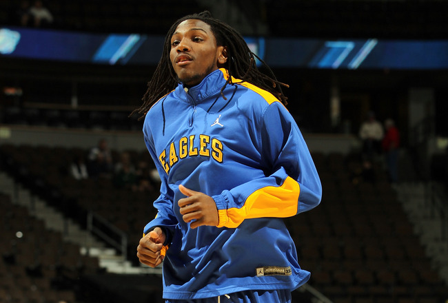 DENVER, CO - MARCH 19:  Kenneth Faried #35 of the Morehead State Eagles warms up prior to playing against the Richmond Spiders in the third round of the 2011 NCAA men's basketball tournament at Pepsi Center on March 19, 2011 in Denver, Colorado.  (Photo b