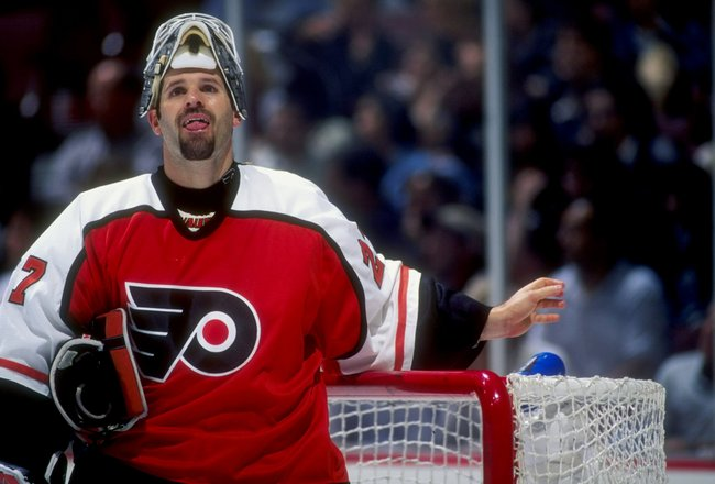 15 Oct 1997:  Goaltender Ron Hextall of the Philadelphia Flyers in action against the Anaheim Mighty Ducks during a game at Arrowhead Pond in Anaheim, California.  The game ended in a 2-2 tie in overtime. Mandatory Credit: Elsa Hasch  /Allsport