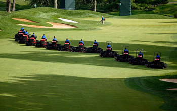 BETHESDA, MD - JULY 04:  Course grass mowers are seen during the third round of the AT&T National at the Congressional Country Club on July 4, 2009 in Bethesda, Maryland.  (Photo by Scott Halleran/Getty Images)