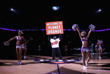 PHOENIX - NOVEMBER 15:  The Phoenix Suns mascot 'gorilla' performs during the NBA game against the Denver Nuggets at US Airways Center on November 15, 2010 in Phoenix, Arizona. NOTE TO USER: User expressly acknowledges and agrees that, by downloading and