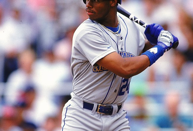1990: Ken Griffey Jr.#24 of the Seattle Mariners swings at the ball. Mandatory Credit: Scott Halleran  /Allsport