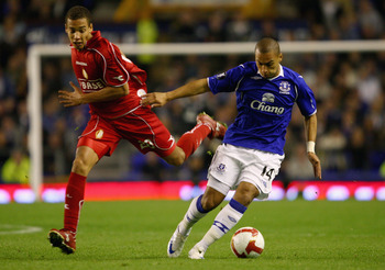 LIVERPOOL, UNITED KINGDOM - SEPTEMBER 18:  Evertons James Vaughan in action with Axel Witsel of Standard Liege during the UEFA Cup first round, first leg match, between Everton and Standard Liege at Goodison Park,on September 18, 2008 in Liverpool, Englan