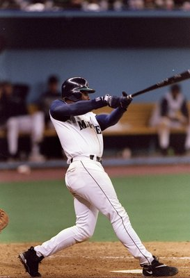 2 Oct 1997: Outfielder Ken Griffey Jr of the Seattle Mariners at bat during a game against the Baltimore Orioles at the Kingdome in Seattle, Washington. The Orioles won the game, 9-3.