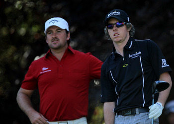 THOUSAND OAKS, CA - DECEMBER 02:  Rory McIlroy (R) and Graeme McDowel, bothl of Northern Ireland survey their tee shots on the second hole during the Chevron World Challenge at Sherwood Country Club on December 2, 2010 in Thousand Oaks, California.  (Phot