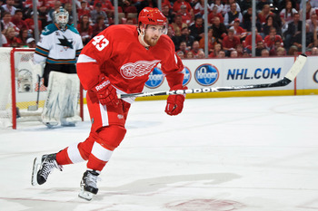 DETROIT - MAY 4: Darren Helm #43 of the Detroit Red Wings skates against the San Jose Sharks in Game Three of the Western Conference Semifinals during the 2011 NHL Stanley Cup Playoffs on May 4, 2011 at Joe Louis Arena in Detroit, Michigan. (Photo by Jami