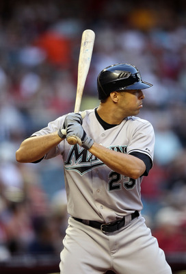 PHOENIX, AZ - MAY 30:  Javier Vazquez #23 of the Florida Marlins bats against the Arizona Diamondbacks during the Major League Baseball game at Chase Field on May 30, 2011 in Phoenix, Arizona. The Diamondbacks defeated the Marlins 15-4.  (Photo by Christi