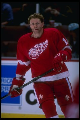 5 Apr 1996:  Defenseman Vladimir Konstantinov of the Detroit Red Wings looks on during a game against the Anaheim Mighty Ducks at Arrowhead Pond in Anaheim, California.  The game was a tie, 2-2. Mandatory Credit: Jamie Squire  /Allsport