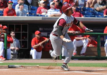 CLEARWATER, FL - FEBRUARY 24:  Infielder Devon Travis #8 of  the Florida State Seminoles bats against the Philadelphia Phillies February 24, 2011 at Bright House Field in Clearwater, Florida.  (Photo by Al Messerschmidt/Getty Images)