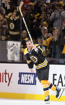 BOSTON, MA - APRIL 23:  Nathan Horton #18 of the Boston Bruins celebrates after the game against the Montreal Canadiens in Game Five of the Eastern Conference Quarterfinals during the 2011 NHL Stanley Cup Playoffs at TD Garden on April 23, 2011 in Boston,