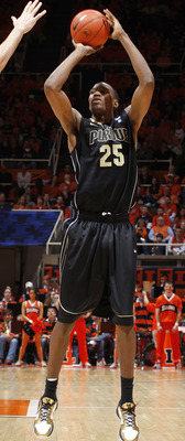 CHAMPAIGN, IL - FEBRUARY 13: JaJuan Johnson #25 of the Purdue Boilermakers takes a shot against the Illinois Fighting Illini at Assembly Hall on February 13, 2011 in Champaign, Illinois. Purdue defeated Illinois 81-70. (Photo by Joe Robbins/Getty Images)