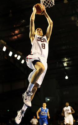 AUCKLAND, NEW ZEALAND - JULY 06:  Klay Thompson of the United States dunks the ball during the U19 Basketball World Championships match between the United States and Greece at North Shore Events Centre on July 6, 2009 in Auckland, New Zealand.  (Photo by