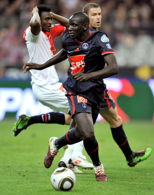 PARIS - MAY 01: Defender Mamadou Sakho of Paris Saint Germain football club is seen during the French Football Cup Final at Stade de France on May 1, 2010 in Paris, France. (Photo by Pascal Le Segretain/Getty Images)