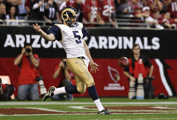 GLENDALE, AZ - DECEMBER 05:  Punter Donnie Jones #5 of the St. Louis Rams kicks the football during the NFL game against the Arizona Cardinals at the University of Phoenix Stadium on December 5, 2010 in Glendale, Arizona. The Rams defeated the Cardinals 1
