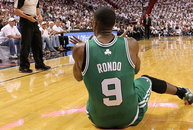 MIAMI, FL - MAY 03:  Rajon Rondo #9 of the Boston Celtics reacts to a foul during Game Two of the Eastern Conference Semifinals of the 2011 NBA Playoffs against the Miami Heat at American Airlines Arena on May 3, 2011 in Miami, Florida. NOTE TO USER: User