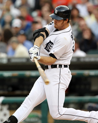 DETROIT, MI - JUNE 09: Brennan Boesch #26 of the Detroit Tigers swings and hits a home run in a MLB game against the Seattle Mariners at Comerica Park on June 9, 2011 in Detroit, Michigan.  The Tigers defeated the Mariners 4-1  (Photo by Dave Reginek/Gett