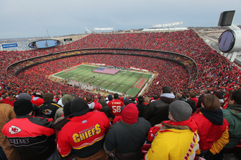KANSAS CITY, MO - JANUARY 09:  A general view of the stadium as the fans observe the national anthem as the Baltimore Ravens prepare to face the Kansas City Chiefs during their 2011 AFC wild card playoff game at Arrowhead Stadium on January 9, 2011 in Kan