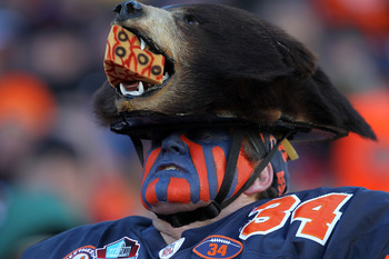 CHICAGO, IL - JANUARY 23:  A Chicago Bears fan looks on from the stands as the Bears take on the Green Bay Packers in the NFC Championship Game at Soldier Field on January 23, 2011 in Chicago, Illinois.  (Photo by Jamie Squire/Getty Images)