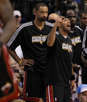 DALLAS, TX - JUNE 09:  (L-R) Juwan Howard #5, Eddie House #55, Joel Anthony #50, James Jones #22 and Erick Dampier #25 of the Miami Heat react on the bench against the Dallas Mavericks in the fourth quarter of Game Five of the 2011 NBA Finals at American