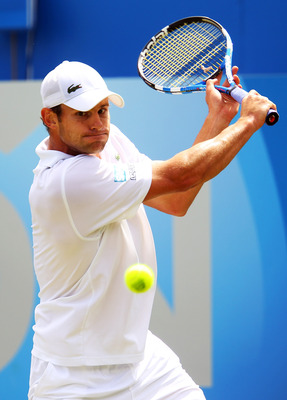 LONDON, ENGLAND - JUNE 09:  Andy Roddick of the United States eyes the ball during his Men's Singles third round match against Kevin Anderson of South Africa on day four of the AEGON Championships at Queens Club on June 9, 2011 in London, England.  (Photo