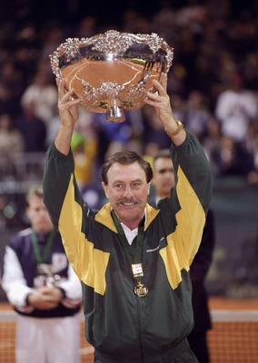 5 Dec 1999:  John Newcombe the Australian Captain holds the Davis Cup after Australia beat France played in Nice, France. \ Mandatory Credit: Clive Brunskill /Allsport