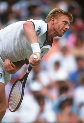 1 JUL 1994:  BORIS BECKER OF GERMANY SERVES DURING HIS SEMI-FINAL MATCH WITH GORAN IVANISEVIC OF CROATIA IN THE 1994 WIMBLEDON CHAMPIONSHIPS.  IVANISEVIC WON IN STRAIGHT SETS 6-2, 7-6 (8-6), 6-4.   Mandatory Credit: Bob Martin/ALLSPORT