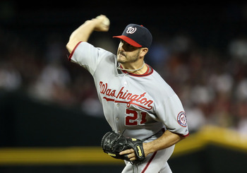 PHOENIX, AZ - JUNE 05:  Starting pitcher Jason Marquis #21 of the Washington Nationals pitches against the Arizona Diamondbacks during the Major League Baseball game at Chase Field on June 5, 2011 in Phoenix, Arizona.  (Photo by Christian Petersen/Getty I