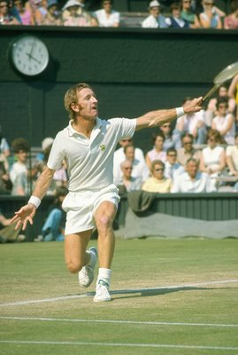 1960:  Rod Laver of Australia in action during the Lawn Tennis Championships at Wimbledon in London. \ Mandatory Credit: Allsport UK /Allsport