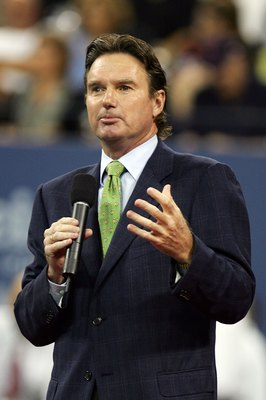 NEW YORK - AUGUST 28:  Tennis legend Jimmy Connors speaks during the opening ceremony on the first day of the US Open at the USTA Billie Jean King National Tennis Center in Flushing Meadows Corona Park on August 28, 2006 in the Flushing neighborhood of th