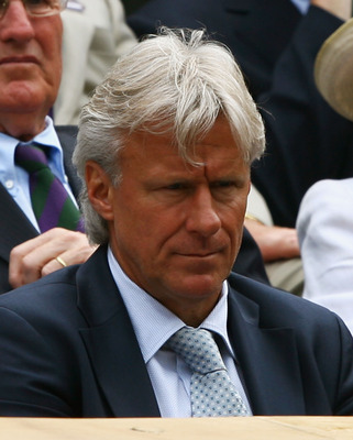 LONDON - JULY 06:  Five times Wimbledon Champion Bjorn Borg watches the men's singles Final on day thirteen of the Wimbledon Lawn Tennis Championships at the All England Lawn Tennis and Croquet Club on July 6, 2008 in London, England.  (Photo by Clive Bru