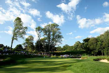 ARDMORE, PA - SEPTEMBER 13: The 17th green during the final afternoon singles matches on the East Course at Merion Golf Club on September 13, 2009 in Ardmore, Pennsylvania  (Photo by David Cannon/Getty Images)