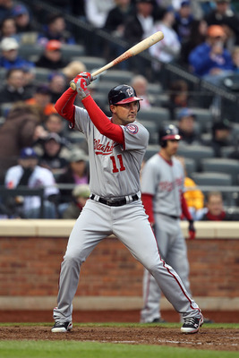 NEW YORK, NY - APRIL 08:  Ryan Zimmerman #11 of the Washington Nationals bats against the New York Mets during the Mets' Home Opener at Citi Field on April 8, 2011 in the Flushing neighborhood of Queens in New York City. The Nationals won 6-2.  (Photo by