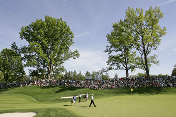 ROCHESTER NY - MAY 25: Bernhard Langer of Germany and Jeff Sluman walk onto the 13th green during the final round of the 69th Senior PGA Championship at Oak Hill Country Club - East Course on May 25 2008 in Rochester, New York. (Photo by Hunter Martin/Get