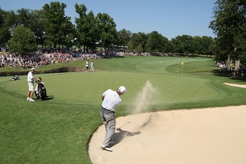 TULSA, OK - AUGUST 12:  Ernie Els of South Africa plays a bunker shot on the 12th green during the final round of the 89th PGA Championship at the Southern Hills Country Club on August 12, 2007 in Tulsa, Oklahoma.  (Photo by David Cannon/Getty Images)
