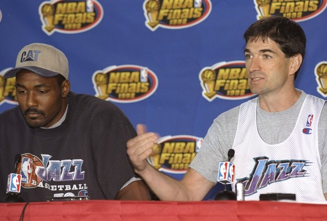 8 Jun 1998:  John Stockton and Karl Malone of the Utah Jazz talks about their game  against the Chicago Bulls during a press conference at the United Center in Chicago, Illinois. Mandatory Credit: Jonathan Daniel  /Allsport