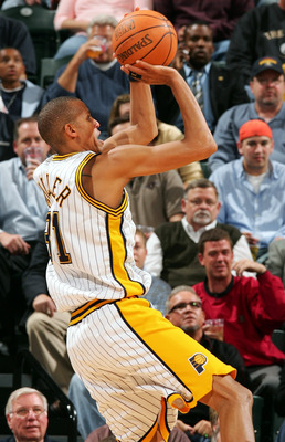 INDIANAPOLIS - APRIL 28:  Reggie Miller #31 of the Indiana Pacers takes a shot in the first half against the Boston Celtics in Game three of the Western Conference Quarterfinals during the 2005 NBA Playoffs on April 28, 2005 at Conseco Field House in Indi