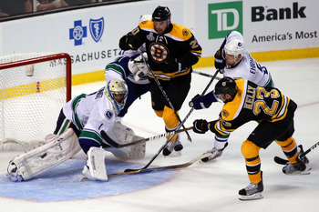 Boston's Chris Kelly scores in Game 3 of the Stanley Cup Finals vs Vancouver