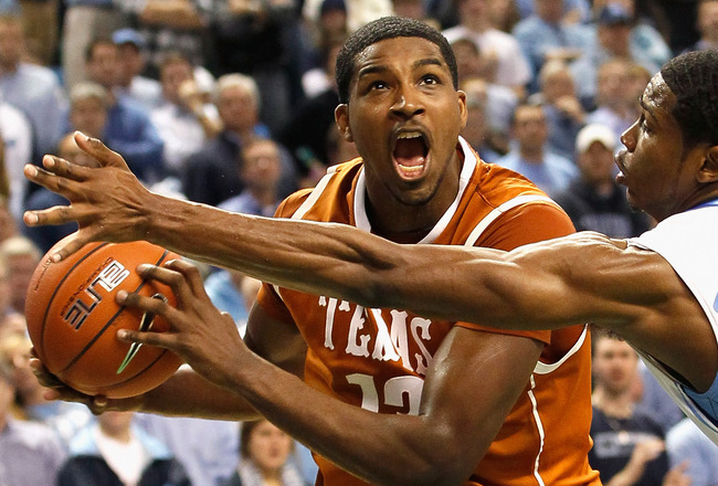 GREENSBORO, NC - DECEMBER 18:  Tristan Thompson #13 of the Texas Longhorns against Dexter Strickland #1 of the North Carolina Tar Heels at Greensboro Coliseum on December 18, 2010 in Greensboro, North Carolina.  (Photo by Kevin C. Cox/Getty Images)