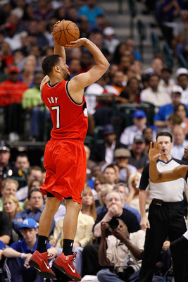 DALLAS, TX - APRIL 19:  Forward Brandon Roy #7 of the Portland Trail Blazers takes a shot against the Dallas Mavericks in Game Two of the Western Conference Quarterfinals during the 2011 NBA Playoffs on April 19, 2011 at American Airlines Center in Dallas