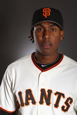 SCOTTSDALE, AZ - FEBRUARY 23:  Francisco Peguero #62 of the San Francisco Giants poses for a portrait during media photo day at Scottsdale Stadium on February 23, 2011 in Scottsdale, Arizona.  (Photo by Ezra Shaw/Getty Images)