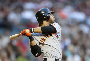 PHOENIX, AZ - JUNE 14:  Brandon Crawford #35 of the San Francisco Giants bats against the Arizona Diamondbacks during the Major League Baseball game at Chase Field on June 14, 2011 in Phoenix, Arizona.  (Photo by Christian Petersen/Getty Images)