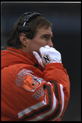 19 Nov 1995:  Head coach Bill Belichick of the Cleveland Browns on the sideline during the Browns 31-20 loss to the Green Bay Packers at Cleveland Stadium in Cleveland, Ohio.  Mandatory Credit:  Brian Bahr/Allsport