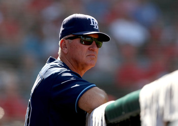 ANAHEIM, CA - AUGUST 12:  Manager Joe Maddon of the Tampa Bay Rays look on during the game with the Los Angeles Angels of Anaheim on August 12, 2009 at Angel Stadium in Anaheim, California.  The Angels won 10-5.  (Photo by Stephen Dunn/Getty Images)