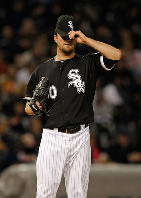 CHICAGO - MAY 06: Starting pitcher John Danks #50 of the Chicago White Sox reacts after the Toronto Blue Jays score two runs in the 5th inning at U.S. Cellular Field on May 6, 2010 in Chicago, Illinois. The Blue Jays defeated the White Sox 2-0. (Photo by