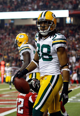 ATLANTA, GA - JANUARY 15:  Tramon Williams #38 of the Green Bay Packers reacts after he intercepted a pass in the endzone against the Atlanta Falcons during their 2011 NFC divisional playoff game at Georgia Dome on January 15, 2011 in Atlanta, Georgia.  (