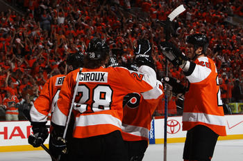 PHILADELPHIA, PA - APRIL 26: Claude Giroux #28 of the Philadelphia Flyers celebrates his goal during a second period power play in Game Seven of the Eastern Conference Quarterfinals during the 2011 NHL Stanley Cup Playoffs at Wells Fargo Center on April 2