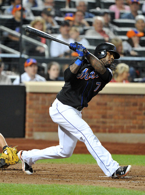 NEW YORK, NY - JUNE 04: Jose Reyes #7 of the New York Mets watches his three RBI triple in the bottom of the seventh inning against the Atlanta Braves at Citi Field on June 4, 2011 in the Flushing neighborhood of the Queens borough of New York City. (Phot
