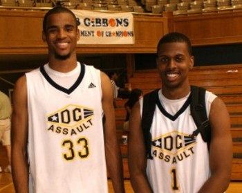 Josh and Tyler, before their freshman year, on the AAU circuit.
