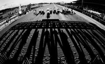 ELMONT, NY - JUNE 10:  EDITORS NOTE: This image has been converted to Black and White.  Horses come out of the gate to start the 138th running of the Belmont Stakes on June 10, 2006 at Belmont Park in Elmont, New York.  (Photo by Streeter Lecka/Getty Imag