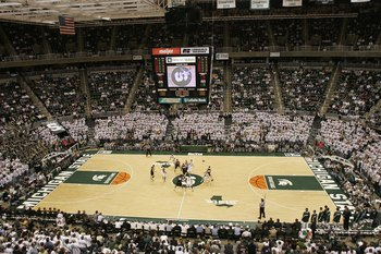 EAST LANSING, MI - JANUARY 21:  The Michigan State Spartans tip-off against the Iowa Hawkeyes at the Breslin Center on January 21, 2006 in East Lansing, Michigan. Michgan State won the game 85-55.  (Photo by Tom Pidgeon/Getty Images)